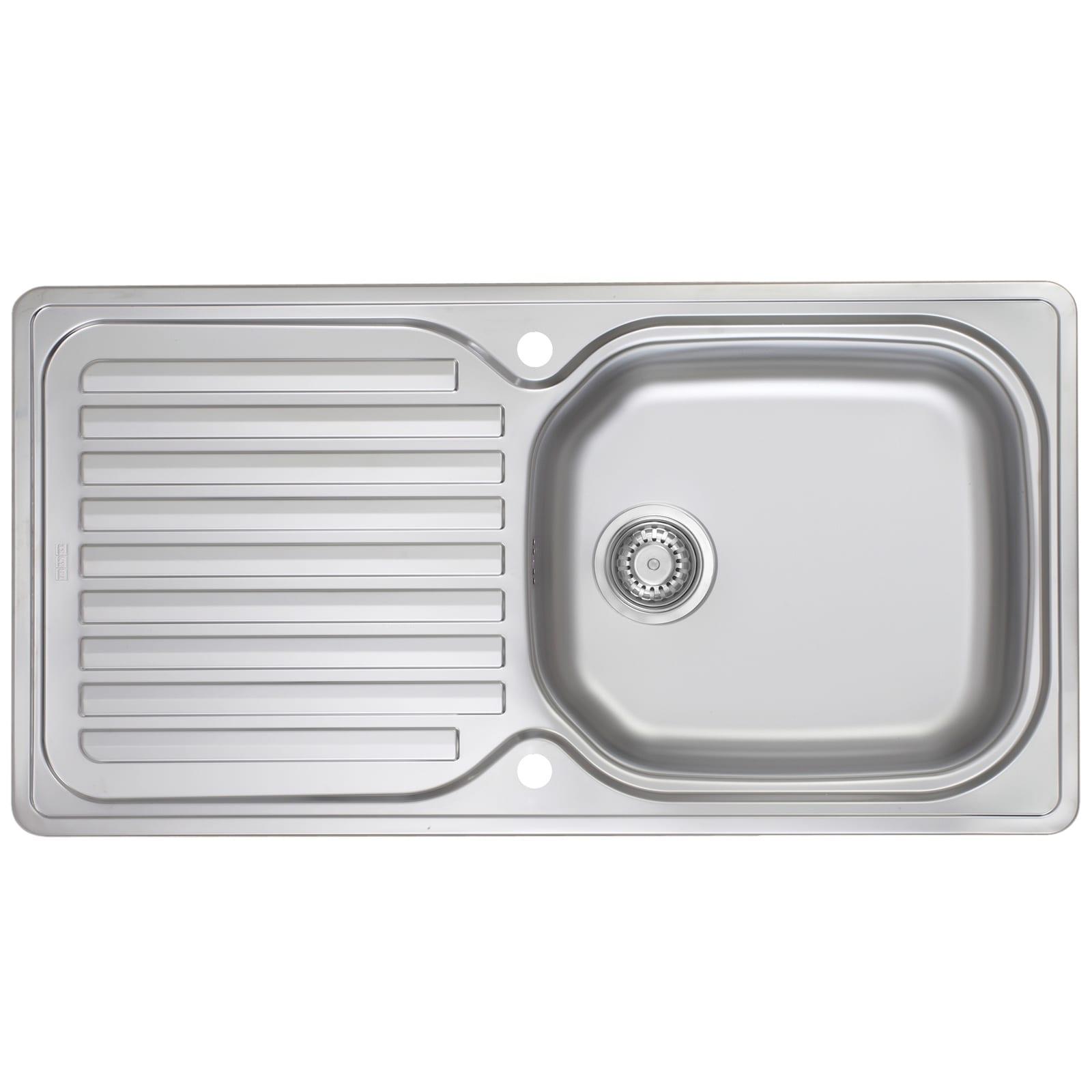 Franke elba eln611 96 1 0 bowl reversible stainless steel kitchen sink waste at ship it appliances