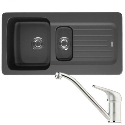Franke Aveta 1.5 Bowl Black Tectonite Kitchen Sink & Clearwater Creta Mixer Tap
