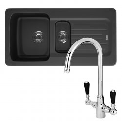 Franke Aveta 1.5 Bowl Black Tectonite Kitchen Sink & Reginox Brooklyn Mixer Tap