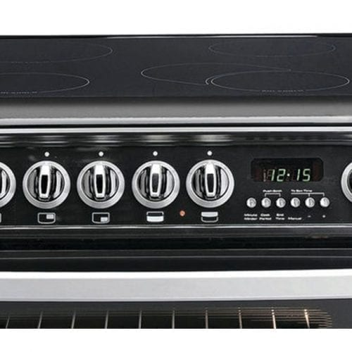 Hotpoint CH60EKK S 60cm Black Double Electric Oven and 4 zone Ceramic Hob