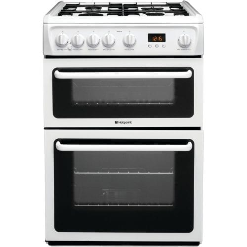 Hotpoint HAG60P New Style 60cm Freestanding Double Gas Cooker In White