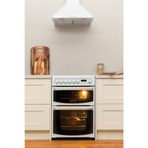 Hotpoint CH60EKW S 60cm White Double Electric Oven and 4 zone Ceramic Hob
