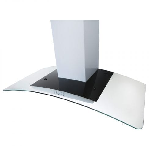 SIA CPL91WH 90cm Curved Glass White Chimney Cooker Hood Kitchen Extractor Fan