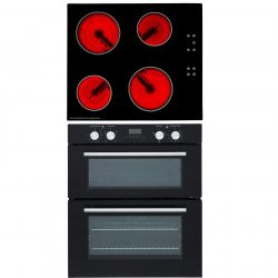 SIA Built Under Double Electric Fan Oven & SIA 60cm 4 Zone Ceramic Electric Hob