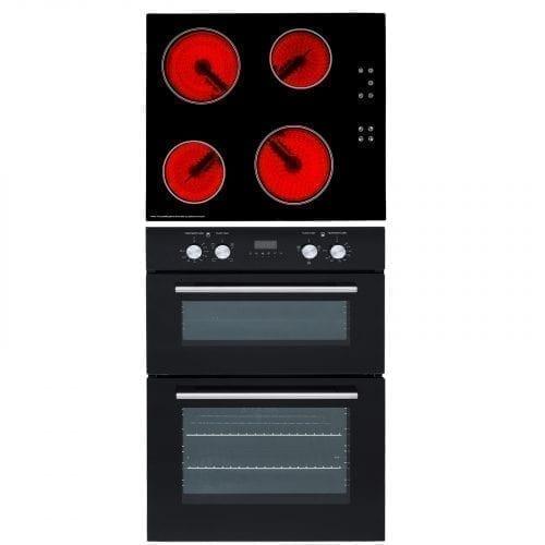 SIA Built In Double Electric Fan Oven & 60cm Black 4 Zone Frameless Ceramic Hob