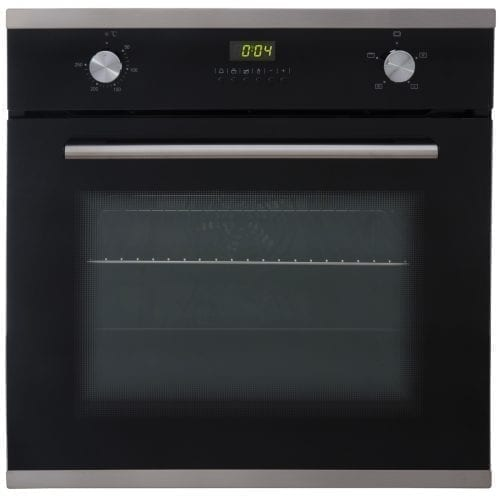 SIA Single Electric 60cm Oven, 70cm Black Glass Gas Hob & Curved LED Cooker Hood