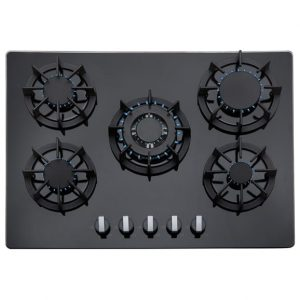 SIA Double Electric 60cm Oven, 70cm Black Glass Gas Hob & Chimney Cooker Hood