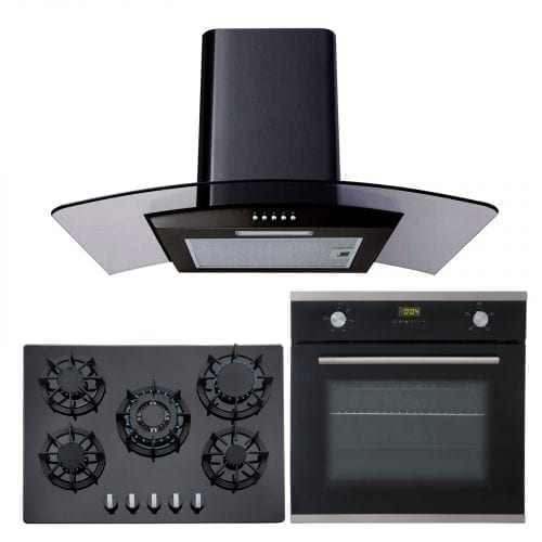 SIA Single 60cm Electric Oven, 70cm Black Glass Gas Hob & Chimney Cooker Hood