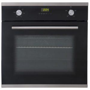 SIA Single 60cm Electric Oven, 70cm Black Glass Gas Hob & Chimney Cooker Hood