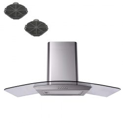 SIA 110cm Stainless Steel Curved Glass Cooker Hood Extractor Fan And Filters