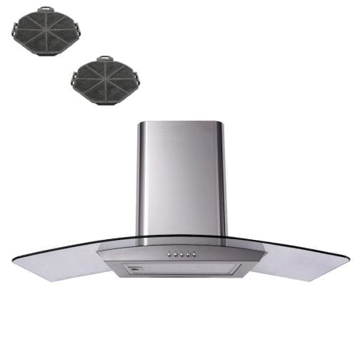 SIA 110cm Curved Glass Stainless Steel Cooker Hood + Recirculation Filters
