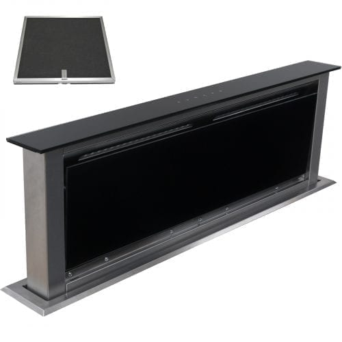 SIA 90cm Touch Control Downdraft Black Cooker Hood Extractor + Charcoal Filter
