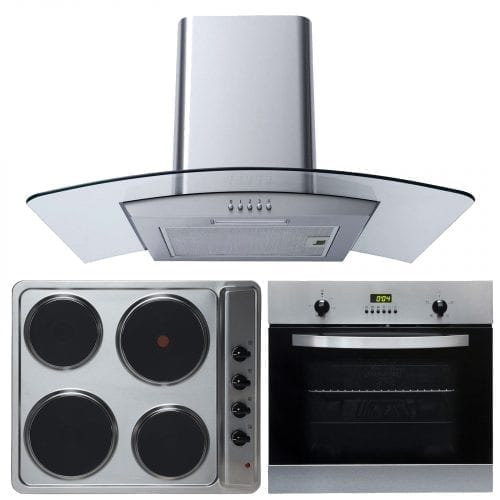 SIA 60cm Single Fan Oven, Electric 4 Zone Plate Hob & Curved Glass Cooker Hood