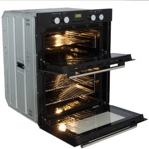 SIA 60CM Double Electric Oven, Black 70cm Gas Hob & Angled Glass Cooker Hood