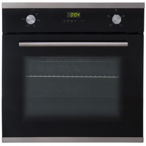 SIA 60cm Single Electric True Fan Oven And 4 Burner Stainless Steel Gas Hob
