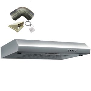 SIA ST60SS 60cm Stainless Steel Visor Cooker Hood Extractor and 3m Ducting Kit