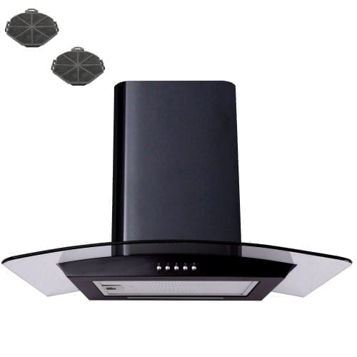 SIA CP61BL 60cm Curved Glass Black Cooker Hood Extractor + Recirculation Filters