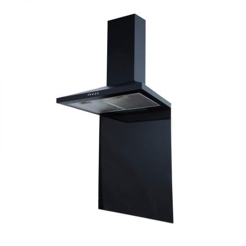 SIA 60cm Black Chimney Cooker Hood & 60cm x 75cm Toughened Glass Splashback