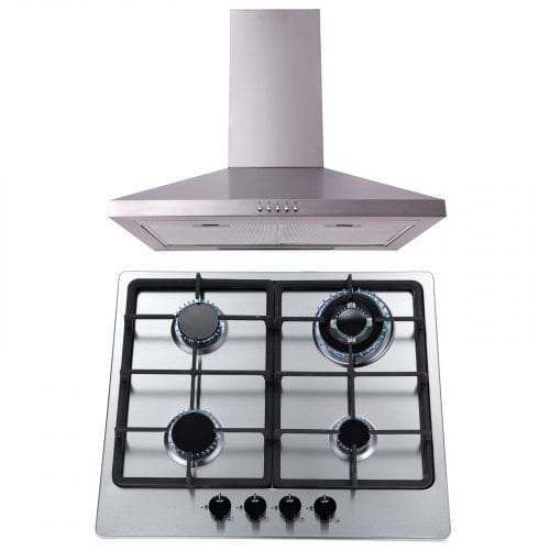 SIA 60cm 4 Burner Gas Hob & 60cm Chimney Cooker Hood In Stainless Steel