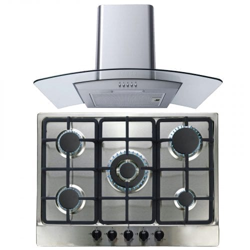 SIA SSG701SS 70cm 5 Zone Gas Hob With Wok Burner & 60cm Curved Glass Cooker Hood