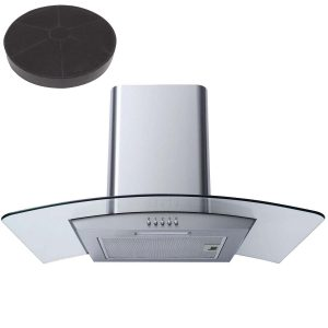 SIA CG71SS 70cm Stainless Steel Curved Glass LED Cooker Hood And Carbon Filter