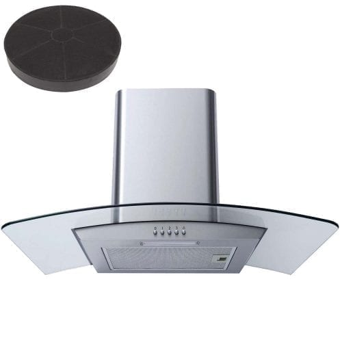 SIA CG71SS  70cm Stainless Steel Curved Glass Cooker Hood + Carbon Filter