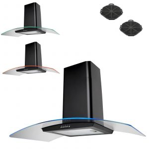 SIA CPE101BL 100cm Black 3 Colour LED Cooker Hood Extractor Fan & Carbon Filters