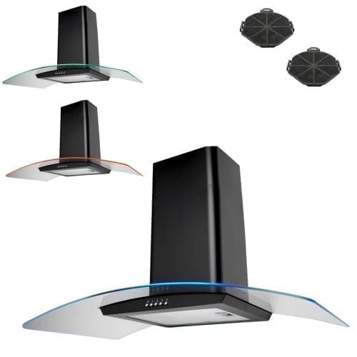 SIA CPE101BL 100cm 3 Colour LED Black Cooker Hood Extractor Fan + Carbon Filters