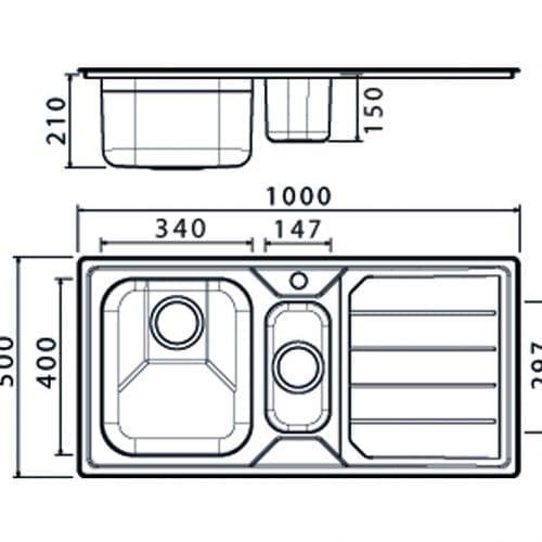 Clearwater Linear 1.5 Bowl Modern Sleek Brushed Stainless Steel Kitchen Sink