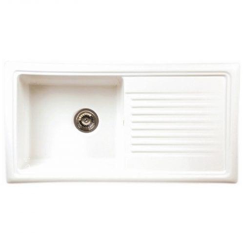 Reginox RL304CW 1.0 Bowl White Ceramic Reversible Kitchen Sink & Waste