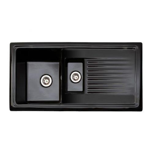 Reginox RL401CB 1.5 Bowl Black Ceramic Kitchen Sink with Waste & Fittings