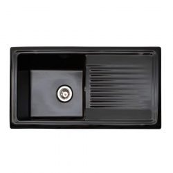 Reginox RL404CB 1.0 Bowl Gloss Black Ceramic Kitchen Sink - Fully Reversible