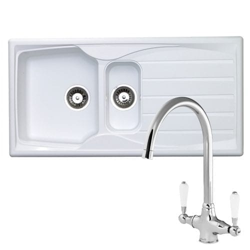 Astracast Sierra 1.5 Bowl White Kitchen Sink & Reginox Elbe Chrome Mixer Tap