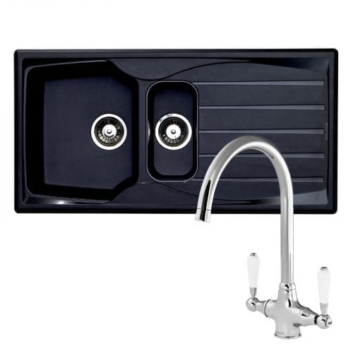 Astracast Sierra 1.5 Bowl Black Kitchen Sink & Reginox Elbe Chrome Sink Tap