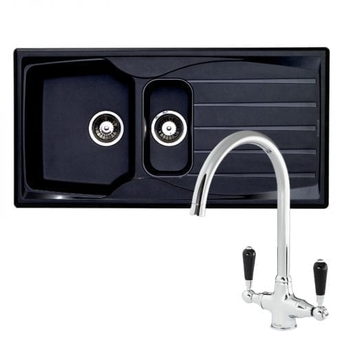 Astracast Sierra 1.5 Bowl Black Kitchen Sink & Reginox Brooklyn Chrome Mixer Tap