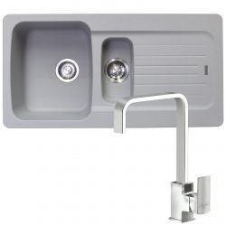 Franke Aveta 1.5 Bowl Stone Grey Tectonite Kitchen Sink And Reginox Astoria Tap