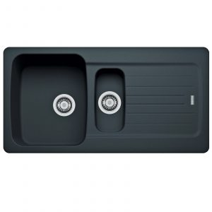 Franke Aveta 1.5 Bowl Black Kitchen Sink & Astracast TP0800 Single Mixer Tap