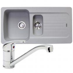 Franke Aveta 1.5 Bowl Stone Grey Tectonite Kitchen Sink & Astracast TP0800 Tap