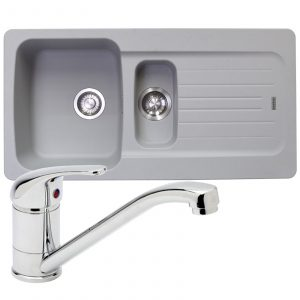 Franke Aveta 1.5 Bowl Stone Grey Tectonite Kitchen Sink & Astracast TP0800 Tap