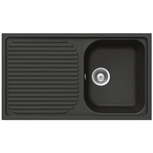 Schock Lithos D100 1.0 Bowl Nero Black Granite Kitchen Sink & Waste | Reversible
