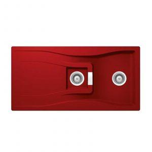 Schock Waterfall 1.5 Bowl Reversible Granite Kitchen Sink in Rouge Red