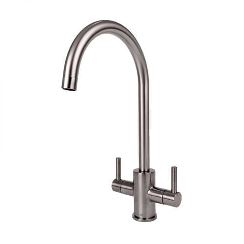 Reginox Genesis Brushed Steel Swan Neck Dual Lever Kitchen Tap With Swivel Spout