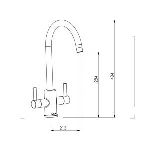 Reginox Genesis Brushed Steel Swan Neck Dual Lever Kitchen Tap With Swivel Spout