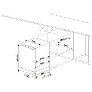SIA RFU101 60cm 142L White Integrated Under Counter Fridge With Auto Defrost