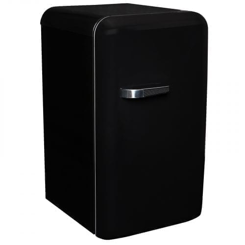 SIA Black Free-Standing 50's Retro Style Fridge with Ice Box