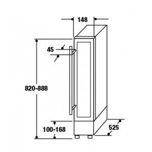 CDA FWC153BL 15cm Black Freestanding Under Counter Slimline Wine Cooler