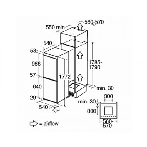 CDA FW872 Integrated 70-30 Combination White Fridge Freezer | A+ Rating