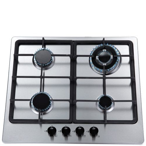 SIA 60cm 4 Burner Gas Hob In Stainless Steel Cast Iron Pan Stands With LPG kit