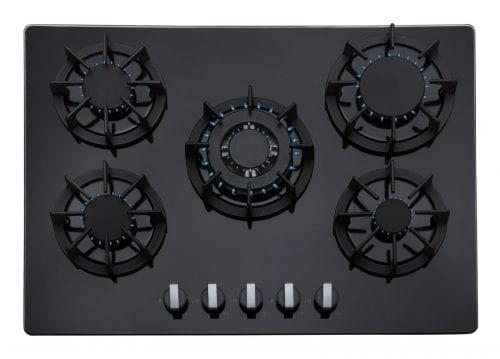 SIA R8 70cm 5 Burner Gas On Glass Hob In Black With LPG Kit, FFD & Wok Burner