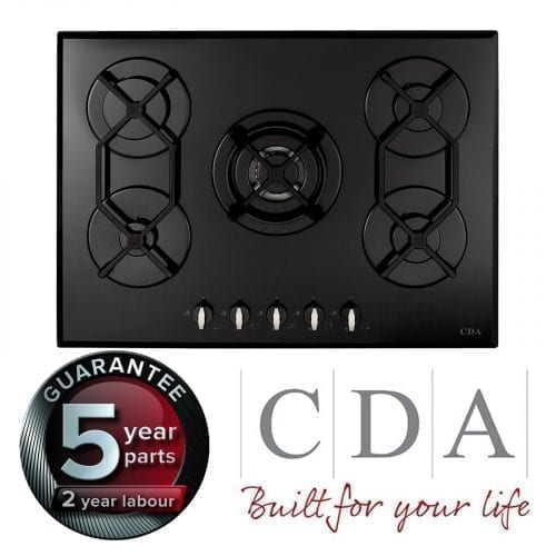 CDA HVG720BL 70cm Designer 5 Burner Gas on Glass Hob in Black